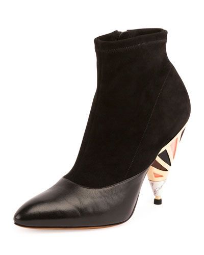 Suede Enamel-Heel Ankle Boot, Black