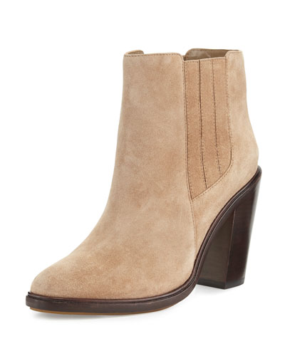 Cloee Suede Ankle Boot, Gesso