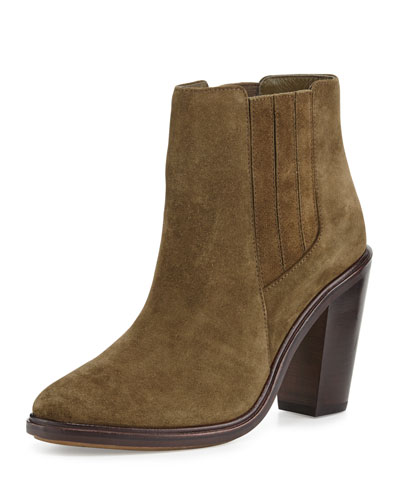 Cloee Suede Ankle Boot, Deep Olive