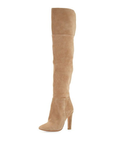 Bentlee Suede Over-the-Knee Boot, Gesso