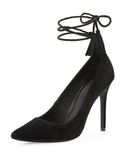 Angelynn Suede Ankle-Wrap Pump, Black
