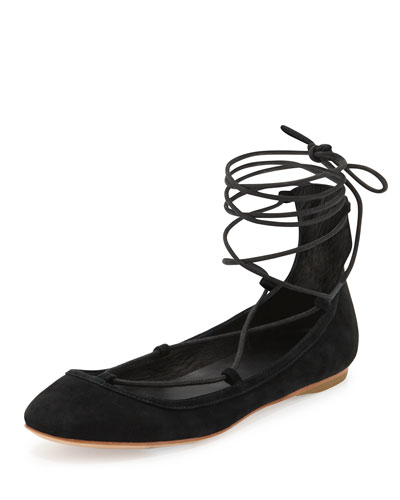 Jenessa Suede Lace-Up Ballerina Flat, Black