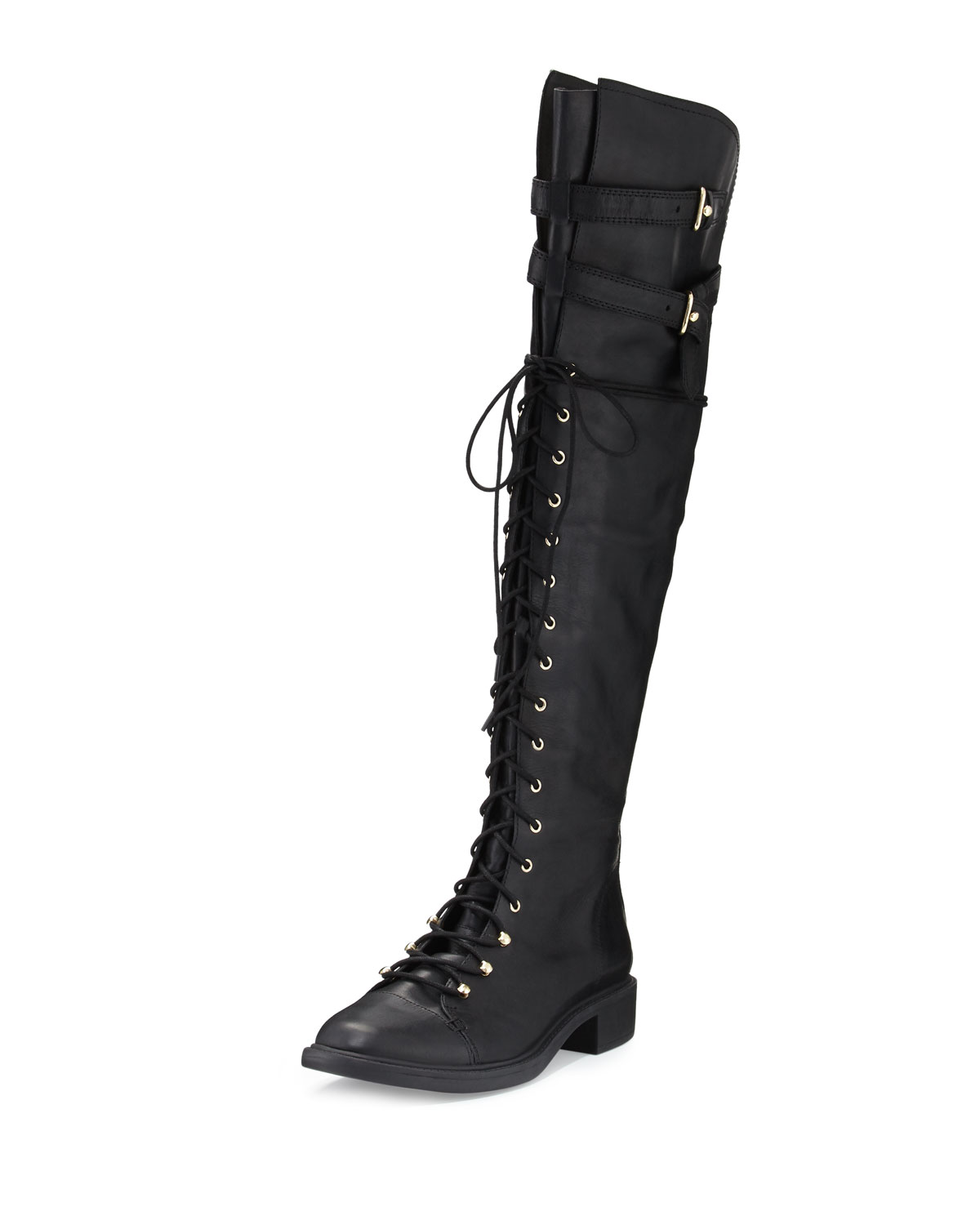Gryffin Combat Over-the-Knee Boot, Black