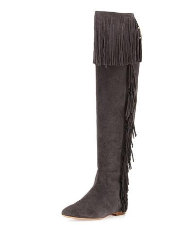 Idalia Fringe Suede Over-the-Knee Boot, Black