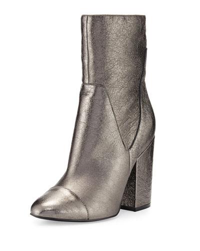 Brooke Leather Block-Heel Bootie, Pewter