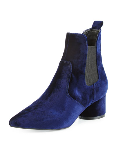 Logan Circle-Heel Chelsea Boot, Navy