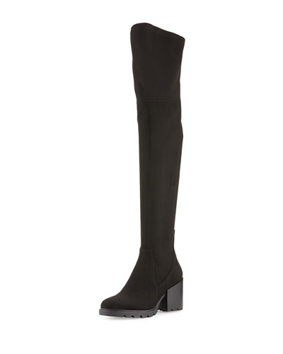 Sawyer Suede Over-The-Knee Boot, Black