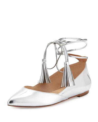 Penelop Metallic Ankle-Wrap Flat, Silver