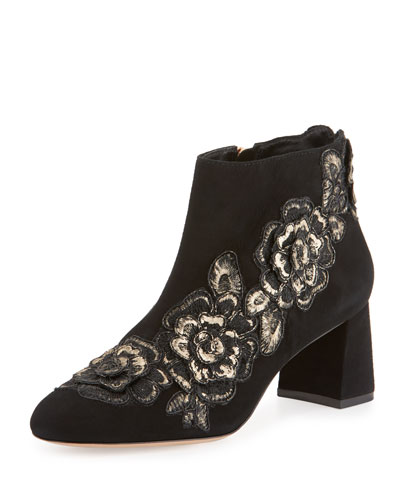 Winona Floral-Appliqué Ankle Boot, Black/Gold
