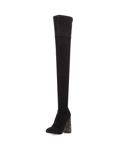 Kendra Beaded-Heel Over-the-Knee Boot, Black
