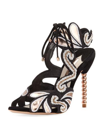 Selina Beaded Ankle-Tie Sandal, Black/Gold