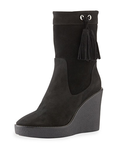 Viola Suede Wedge Bootie, Black