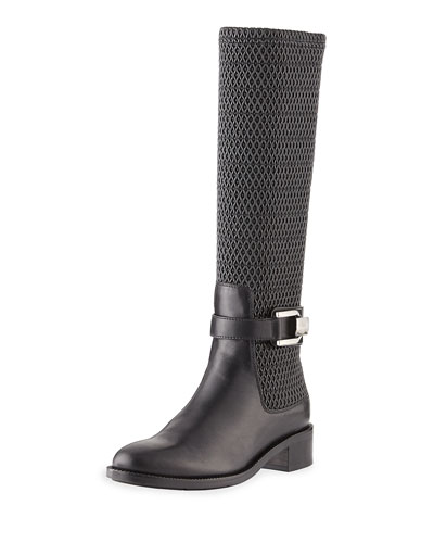 Odilia Weatherproof Leather Riding Boot, Black