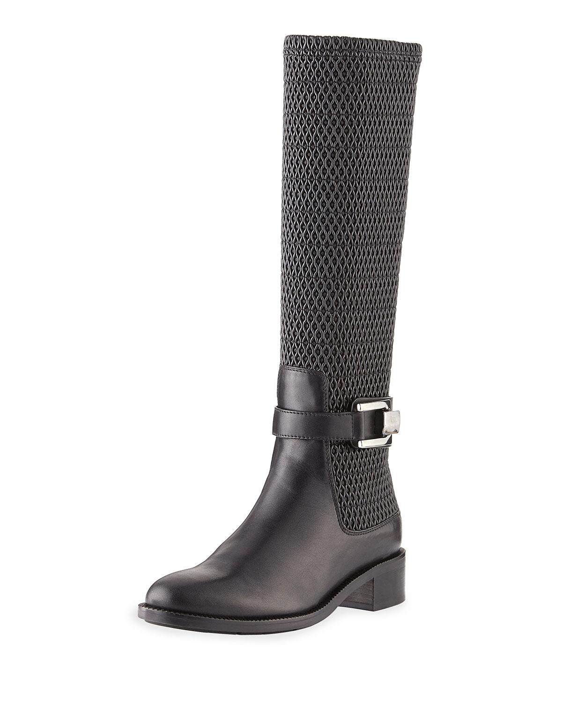 Odilia Weatherproof Leather Riding Boot, Black