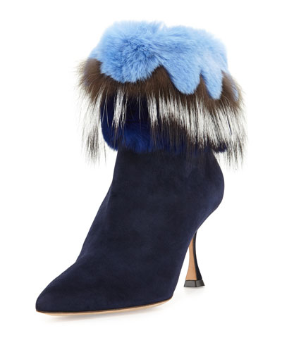 Remola Fur-Trim Suede Bootie, Navy Blue