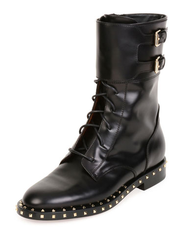 Soul Stud Rockstud Leather Moto Boot, Nero/Platino