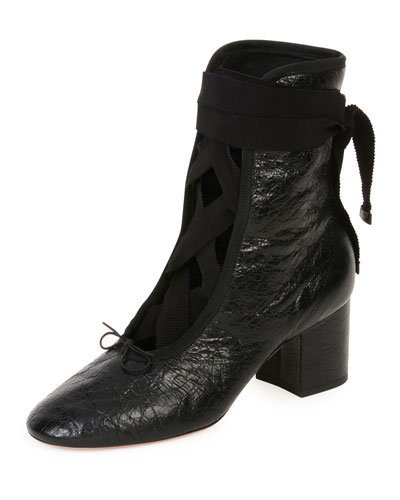 Ballet Crackled Leather Lace-Up Bootie, Nero