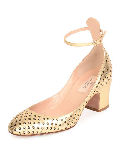 Tan-Go Strass Perforated Pump, Dark Gold/Black