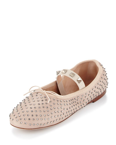 Rockstud Crystal Leather Ballerina Flat, Poudre/Black Diamond