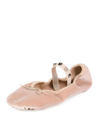 Rockstud Velvet Ballerina Flat, Poudre