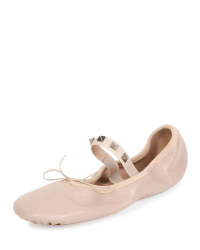 Rockstud Leather Ballerina Flat, Poudre