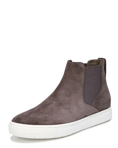 Newlyn Hidden-Wedge High-Top Sneaker, Dark Smoke