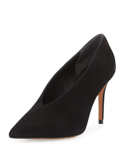 Portia Suede Pointed-Toe Pump, Black