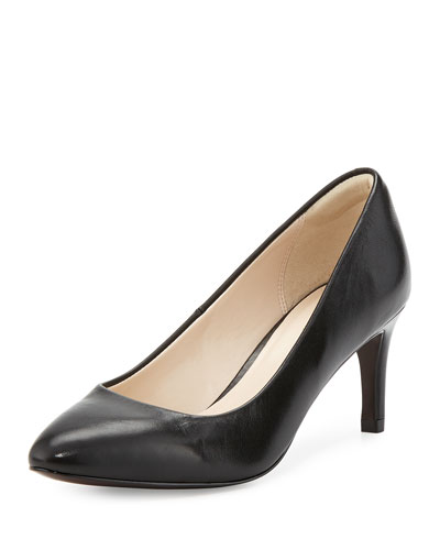Carla Grand.OS Leather Pointed-Toe Pump, Black