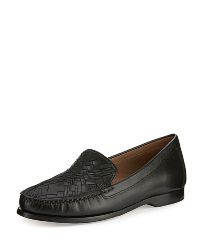 Pinch Woven Leather Loafer, Black