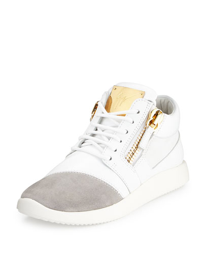Singleg Leather & Suede Side-Zip Sneaker, White/Gray