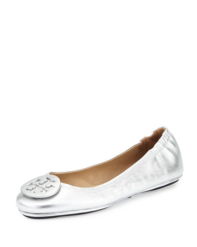 Minnie Travel Logo Ballerina Flat, Silver