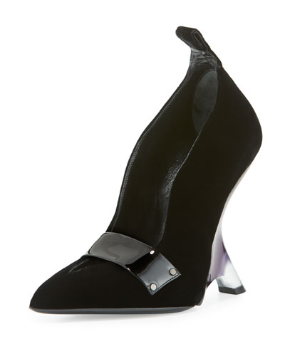 Sculptural Lucite®-Heel Velvet Pump, Black
