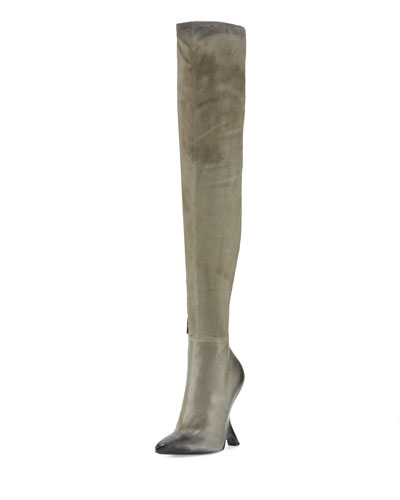 Sculptural-Heel Over-the-Knee Boot, Gray