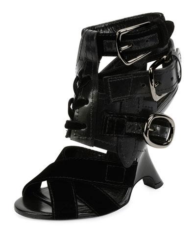 Multi-Strap 110mm Wedge Sandal, Black