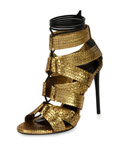 Python Lace-Up 105mm Sandal, Gold