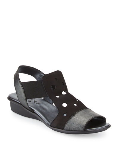 Eddy Perforated Comfort Sandals, Black