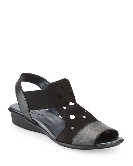 Sesto Meucci Eddy Perforated Comfort Sandals, Black
