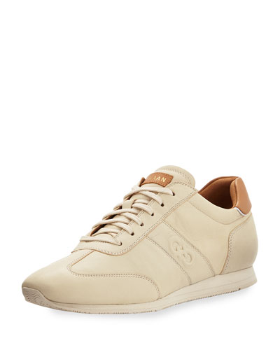 Trafton Grand. OS Vintage Leather Trainer, Sandshell