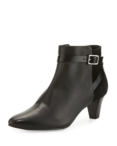 Sylvan Grand.OS Leather & Suede Ankle-Strap Bootie, Black