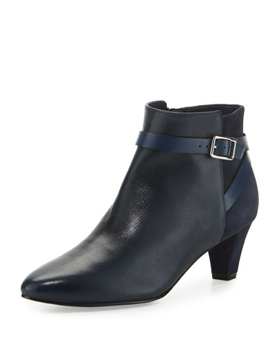 Sylvan Grand.OS Leather & Suede Ankle-Strap Bootie, Blazer Blue