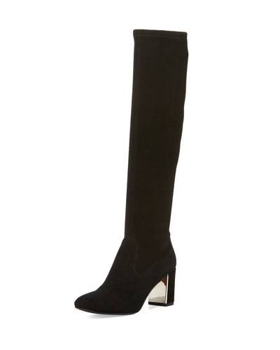 Carmick Stretch Suede Knee Boot, Black