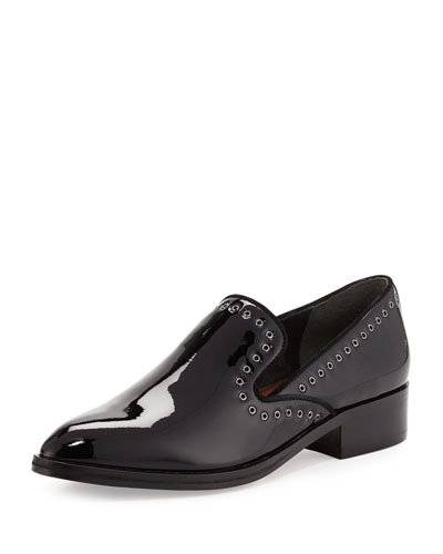 Galia Grommet-Trim Patent Loafer, Black
