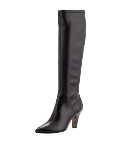Tessa Stretch Leather Knee Boot, Black