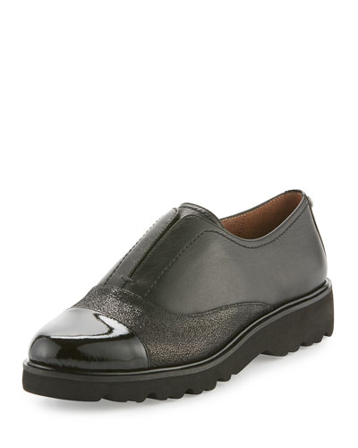 Cloud Cap-Toe Leather Oxford, Black