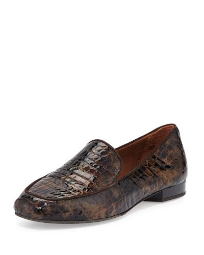 Helene Crocodile-Embossed Loafer, Bronze/Black