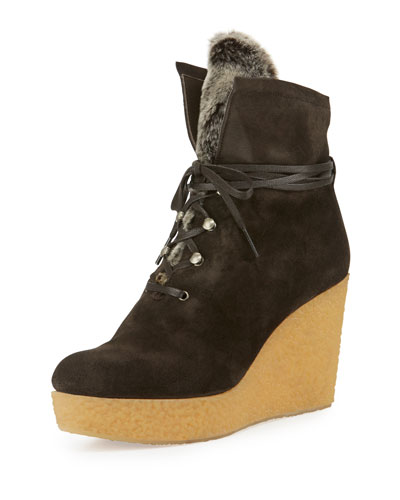 Nagy Faux-Fur Wedge Bootie, Anthracite