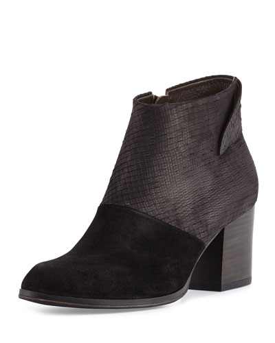 Oki Embossed-Leather Bootie, Black