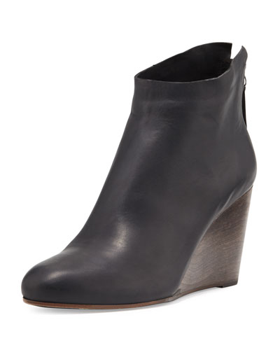 Escuro Leather Wedge Bootie, Black