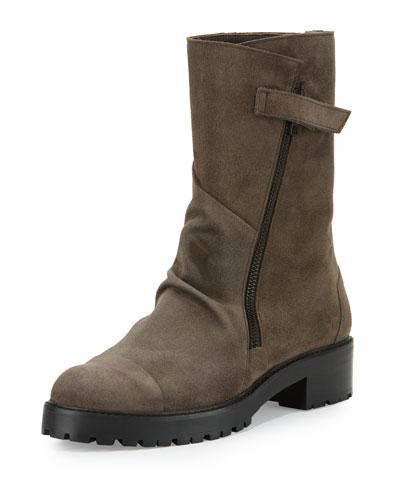 Buckles Suede Mid-Calf Boot, Hammer Ebano