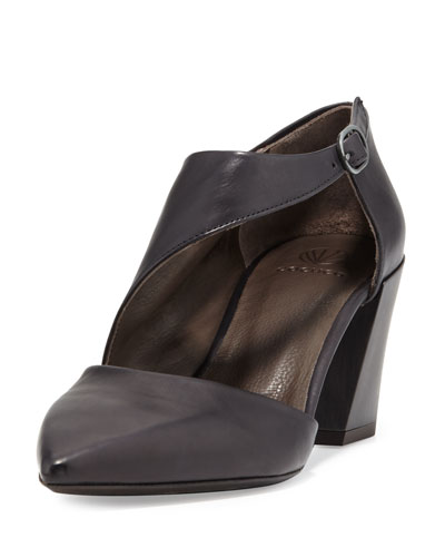 Jung Leather Chunky-Heel Pump, Black